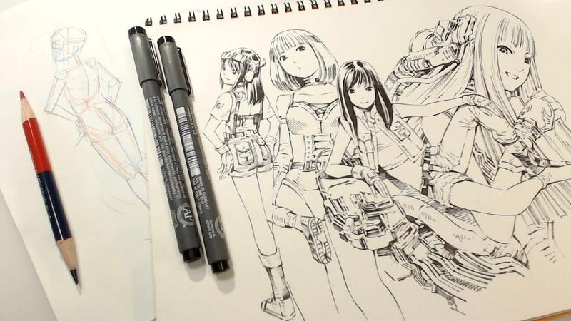 朱藍鉛筆とミリペンで気ままに練習ラクガキ Practice drawing real time
