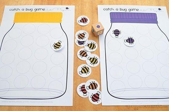 ИГРА ПОЙМАЙ ЖУКА Нам потребуется:- распечатать поле с банками, - распечатать жуков (количество жуков зависит от количества игроков, варианты игры и возраста ребенка)- кубик игральный- кубик, с