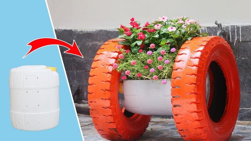 Amazing flower Pot Recycling Plastic Barrel and tires into garden spools planter Garden ideas