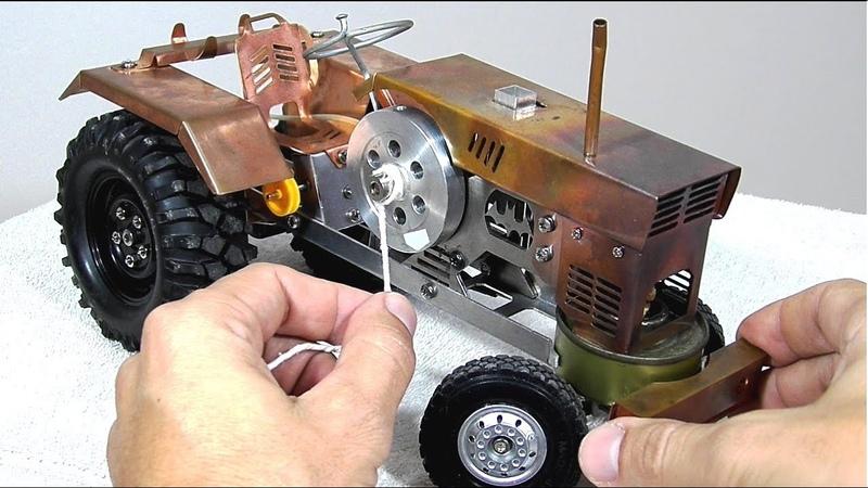 Mini trator com motor comedor de fogo movido a álcool! NÃO um motor Stirling? Leia a descri o!