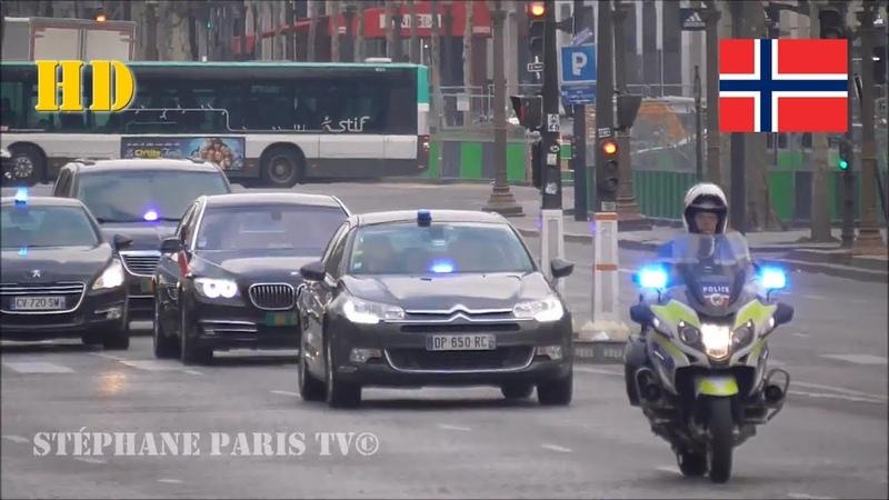 Norwegian Prime Minister Solberg's convoy in Paris