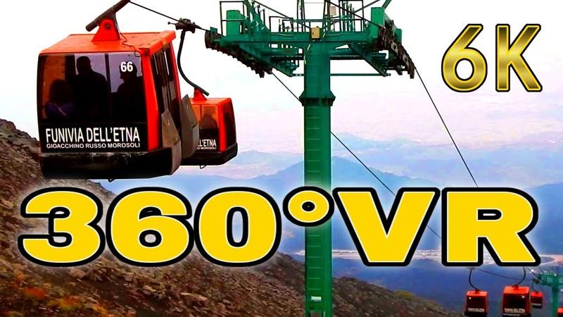 360° VR Secret Path Cable Car Etna Mountain Funivia Sicily Italy Holiday 6K 3D Virtual Reality HD 4K
