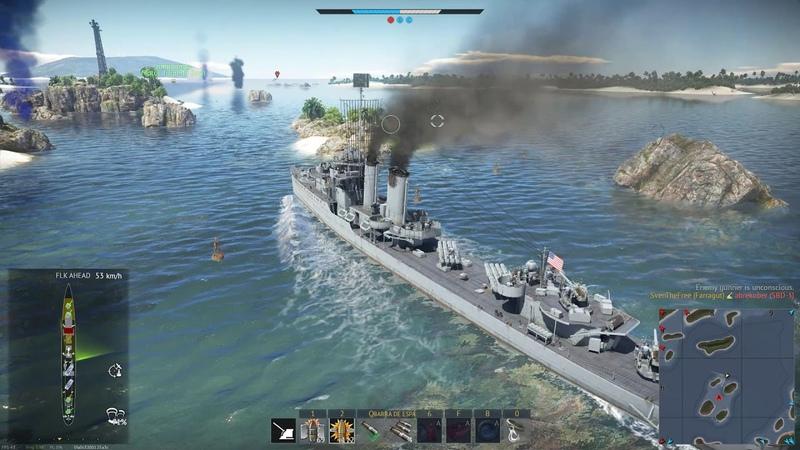 327. War Thunder FARRAGUT (DD 355) and Clemson (DD 336) on Fiji - USA Ships - Naval Battles