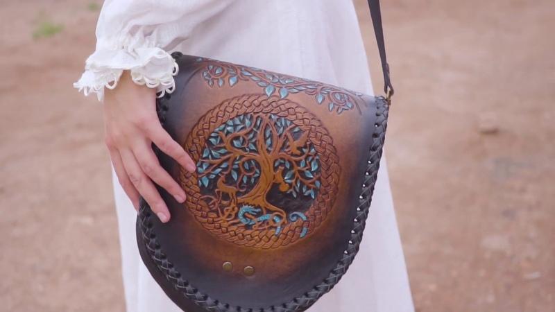 Celtica Leather bag Handmade Leather Black Shoulder Leather Bag Woman Gift Crossbody Bag Middle Size