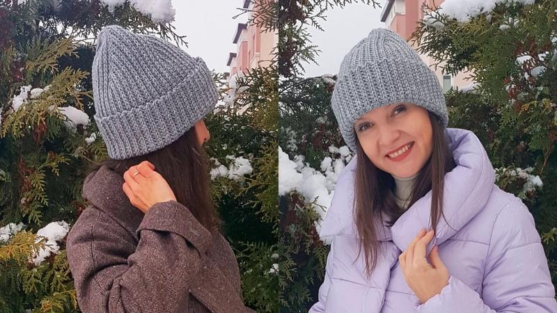 ШАПКА БИНИ вяжем КРЮЧКОМ фасон 2021 модная макушка английская резинка крючком