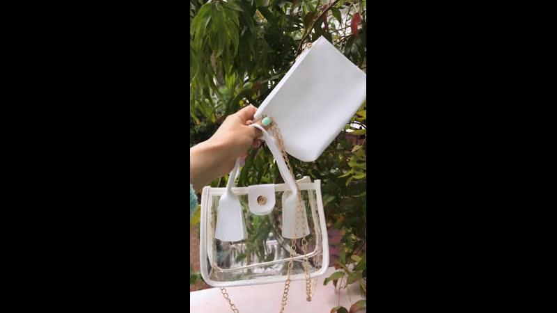 Прозрачная сумка-сэтчел на цепочке с внутренней сумкой