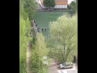 Как на улице Говорова разгоняют детей, играющих на поле