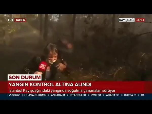 Yangın söndürme helikopteri tonlarca suyu TRT muhabirinin üzerine bıraktığı an
