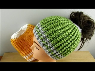 Crochet Messy Bun Hat Ponytail beanie tutorial adults 18-22 - © Designed by Happy Crochet Club