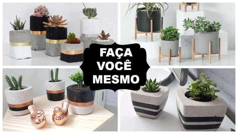 DIY DECOR FAÇA VOCÊ MESMO VASOS DE CIMENTO PARA DECORAR A CASA Viviane Magalhães