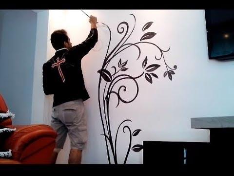 Pintura tipo papel de parede decoração Sala
