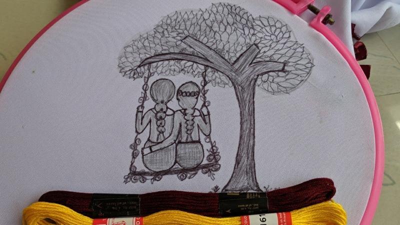 Amazing Beautiful Hand Embroidery design Tutorial Hand Embroidery Doll design stitch kurti dress