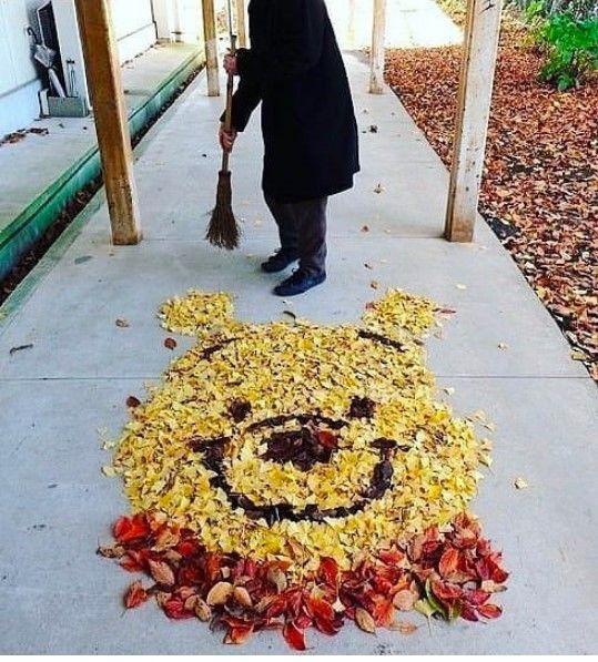 Осень вдохновляет даже дворников Прелестно!