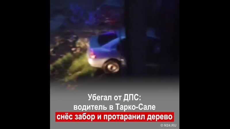Убегал от ДПС водитель в Тарко Сале снёс забор и протаранил дерево