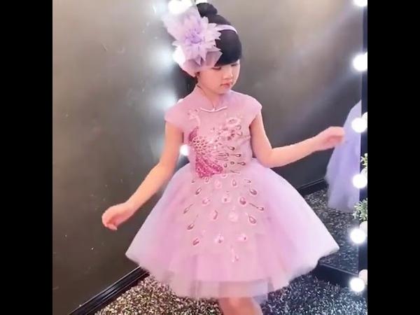 Изысканное платье ципао с милыми цветами для девочек детское павлином свадебной вечеринки первого