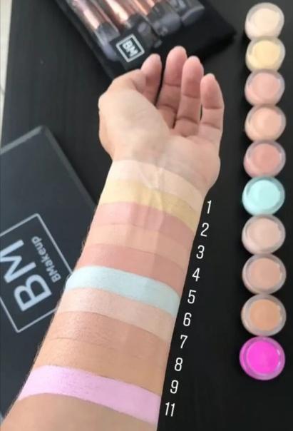 Скрывай различные дефекты кожи, применяя разные цвета. 1. Телесный цвет - универсальный цвет; 2. Желтый хорошо маскирует темные круги под глазами; 3. Зеленый хорошо скрывает лопнувшие красные
