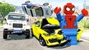 Лего Человек Паук Помогает полиции ловить преступников BeamNG Мультик про машинки для мальчиков