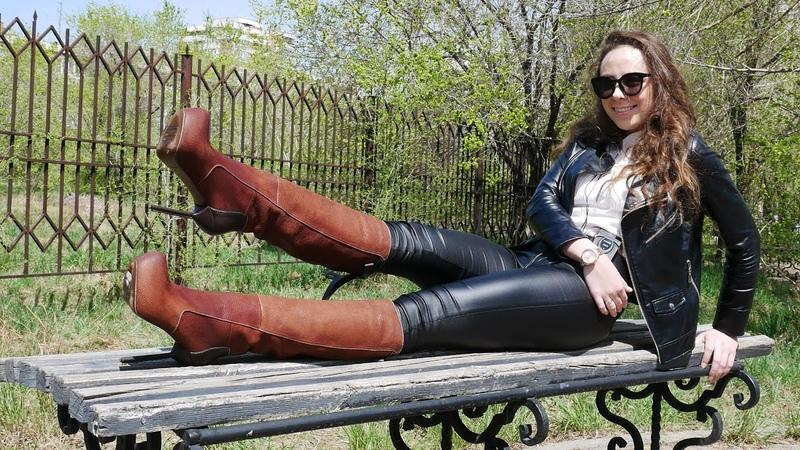 Elena's Gianmarco Lorenzi platform stiletto high heels brown leather boots Size EU40 US9 5