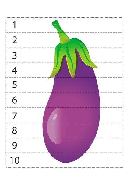 Математические пазлы. Учимся считать до 10. Овощи.