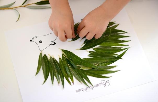 Очень красивые аппликации из листьев: зоо-гербарий Шаблон в формате pdf приложен. См. под фото.