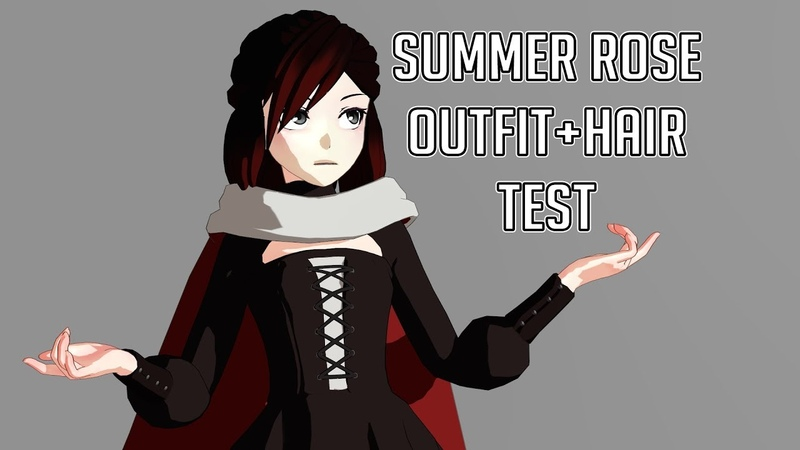 MMD COMMISSION Summer Rose Outfit Hair test