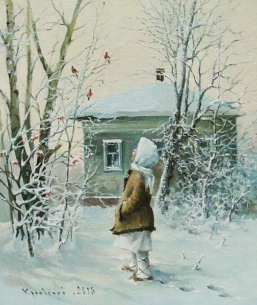 ...На цыпочках, почти неслышно к земле подкрался первый снег, и попросился на ночлег под старой, деревянной крышей. Разрисовали холода рябины гроздья краской алой. И в сточных трубах, как в