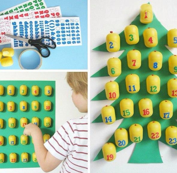 НОВОГОДНИЙ АДВЕНТ КАЛЕНДАРЬ Этот календарь ожидания Нового года сделан своими руками с использованием пластиковых контейнеров от