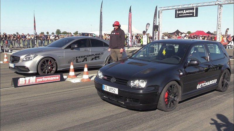 750HP VW Golf 4 1 8 Turbo vs 900HP Mercedes Benz CLS63s AMG