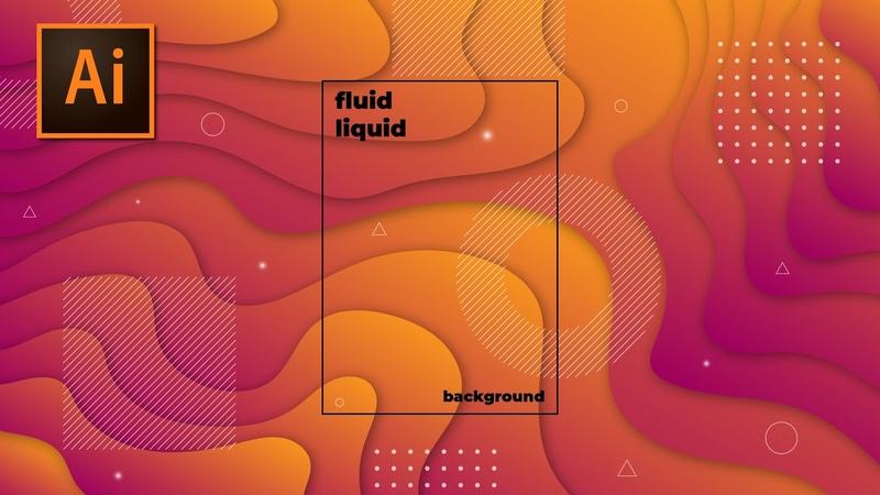 Tutorial Cara Membuat Modern Abstract Wave Paper Cut Fluid Liquid Background Adobe Illustrator CC