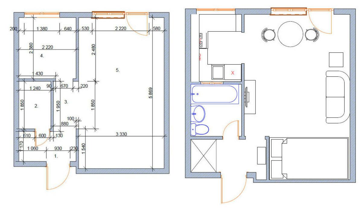 Перепланировка 1-комнатной хрущевки в студию 31,6 м.
