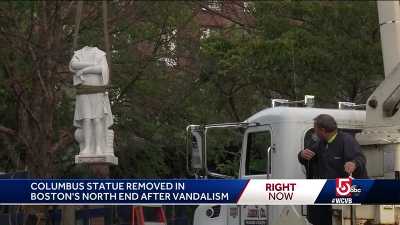 Mixed emotions as Columbus statue removed
