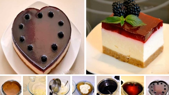 Торт творожный без выпечки с желатином и печеньем