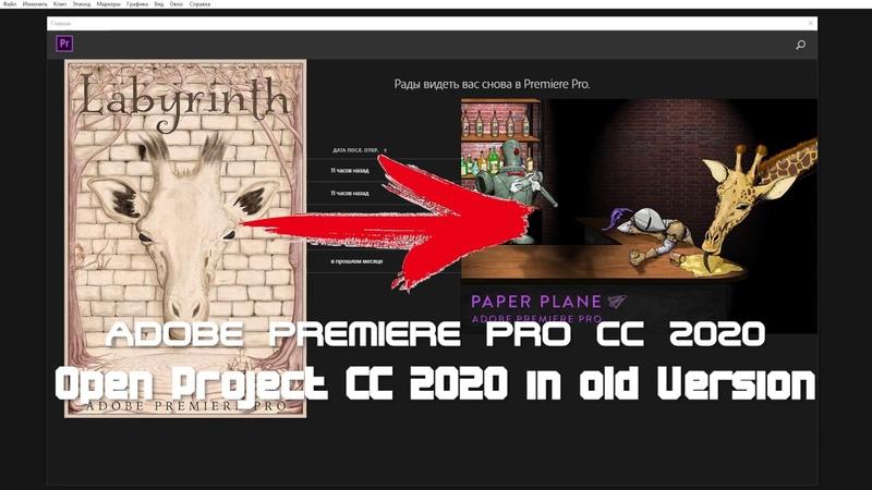 Open project Premiere Pro 2020 in old version Premiere Pro