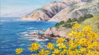 California Coastline Seascape Acrylic Painting LIVE Tutorial