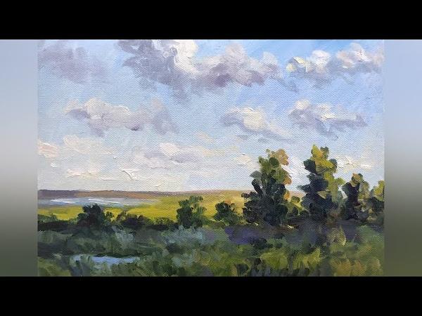 Простой пейзаж масляными красками Мастер класс для начинающих художников Татьяна Зубова