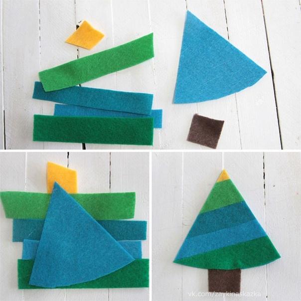 ГИРЛЯНДА ИЗ ЁЛОЧЕК Такие ёлочки можно сделать из войлока или цветного картона.
