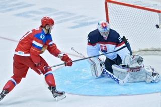Сборная России по хоккею выигрывает Словакию со счетом 1-0 (б)