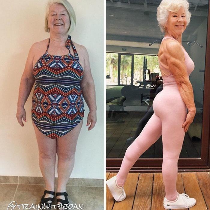 73-летняя женщина похудела и занялась фитнесом.