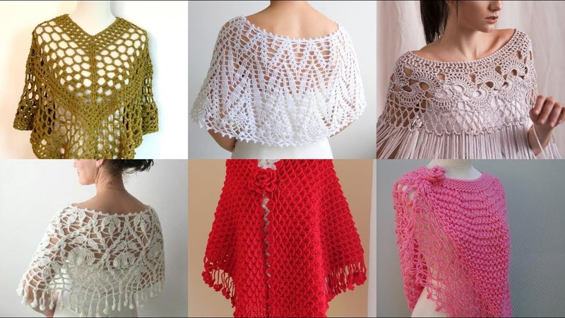 Latest stylish designers trendy bridal hand knitting caplet crochet shawl caplet shawl designs