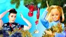 Кукла Барби и Кен и Человек Паук наряжают дом на Новый Год игрушками! Тайная жизнь игрушек