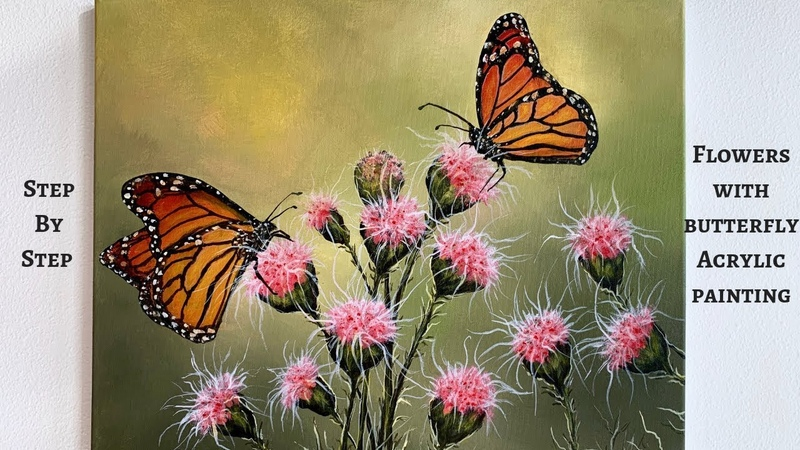 Flowers with Butterflies STEP by STEP Acrylic Painting ColorByFeliks