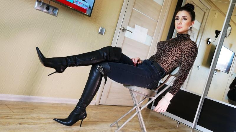 Katherina's brand new Gianmarco Lorenzi high heels over knee leather boots Size EU 36 5 US 6 5
